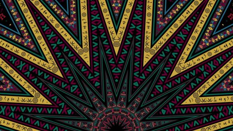 Kaleidoscope African Pattern Movement for traditional and ethnic films, music video, promo, night club, fashion show, dance decoration, art installation, festival.