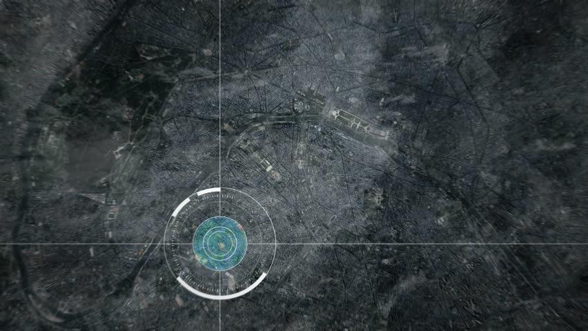 Surveillance drone or satellite camera scanning Paris