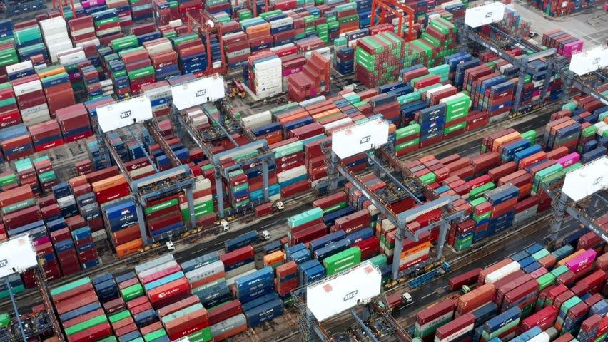 Kwai Tsing , Hong Kong 09 October 2018:- Cargo Container Port in Hong Kong  | Shutterstock HD Video #1018794544