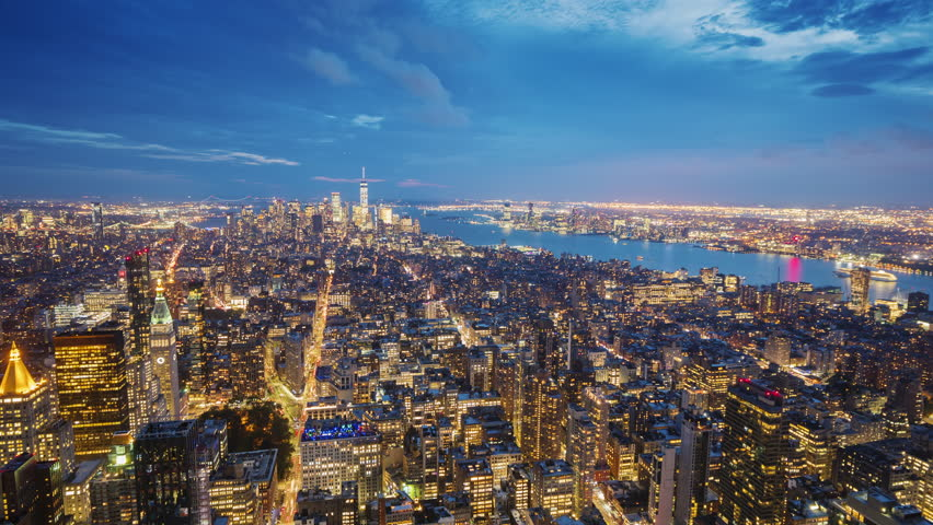 New York City Manhattan aerial panorama cityscape- the transition from Day to Night video. Aerial video timelapse | Shutterstock HD Video #1018836844
