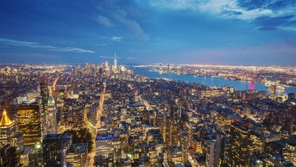 New York City Manhattan aerial panorama cityscape- the transition from Day to Night video. Aerial video timelapse