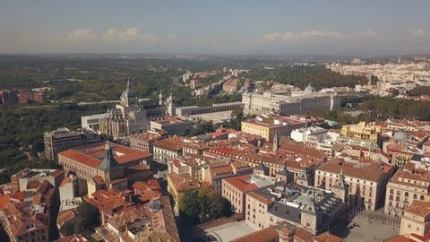 Royal Palace of Madrid and cathedral de la Almudena, aerial view