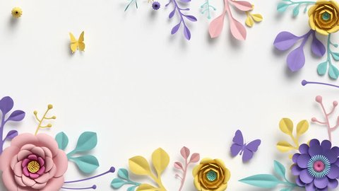 paper flowers growing, appearing, botanical background, pastel colors, decorative frame, blank space for text, paper craft, diy project, intro, isolated on white background