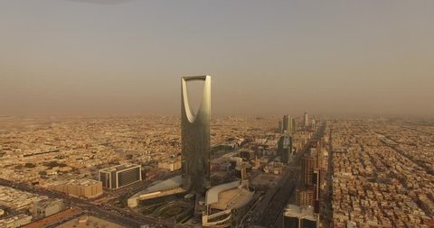 Riyadh ,saudi arabia /15-09-2018 kingdom tower drone sunrise.