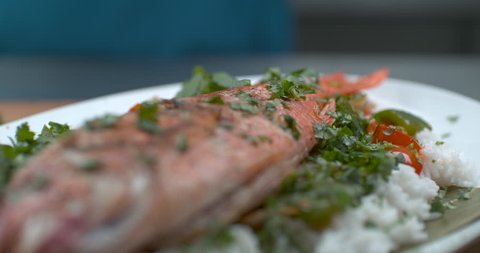 Fresh dill dropped onto a plate of freshly cooked fish, rice, salad and tomato in soft focus, slow motion, in soft light. Closeup in 4k at 1000 fps on a Phantom Flex camera
