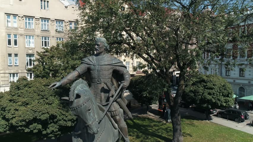 Lviv, Ukraine - November 3, 2018. Fly from statue statue of King Dany, founder of Lemberg city. Aerial shooting European city