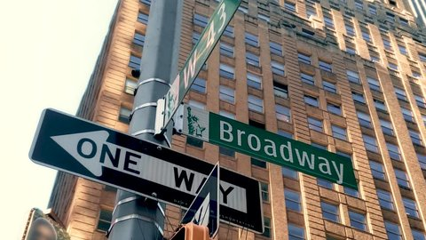 Broadway and Forty Third Street in Times Square Manhattan 4K