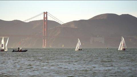 SAN FRANCISCO, CA - OCT 29, 2018:  High school sailing teams practicing on San Francisco Bay.