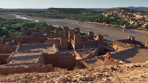 Gimbal shot of Ksar of Ait-Ben-Haddou, an ancient fortified village in Morocco. 4K, UHD
