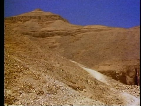 LUXOR, EGYPT, 1977, Valley of the Kings, the entrance to a pharaonic tomb