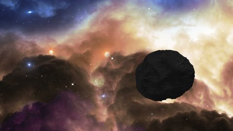 A 4k UHD space scene. Fly over a glowing gas nebula in space and dodge an asteroid. 11630