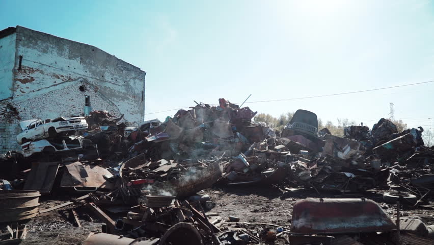 Metal scrap yard for recycling purposes | Shutterstock HD Video #1019244304