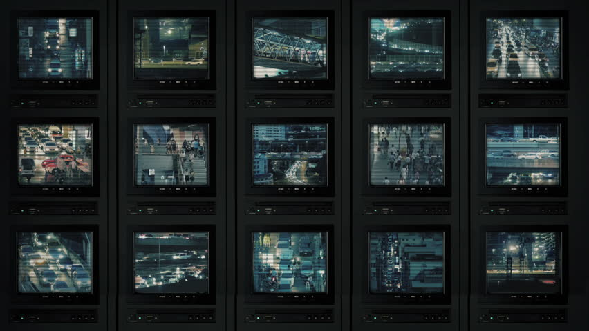 CCTV Screens Showing City At Night | Shutterstock HD Video #1019286214