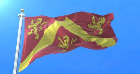 Flag of the welsh island of Anglesey in Wales. Loop