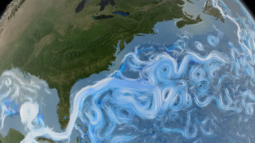 Graphic representation of ocean currents in the east coast of United States. Elements of this image furnished by NASA