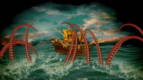 Pirate ship scene with ship on wavy sea with moving kraken tentacles and rolling clouds