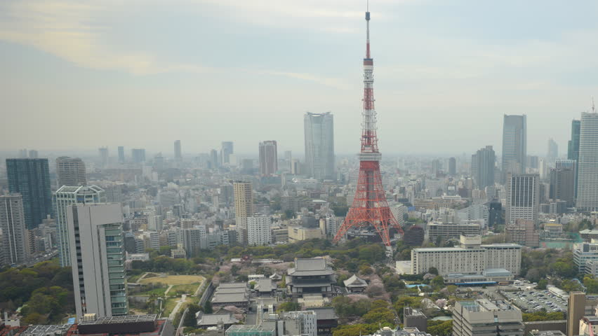 TOKYO, JAPAN - APRIL 2, 2012 Time Lapse Aerial View of Tokyo Skyline Iconic Tower Famous Japan Landmark Day | Shutterstock HD Video #1019498914