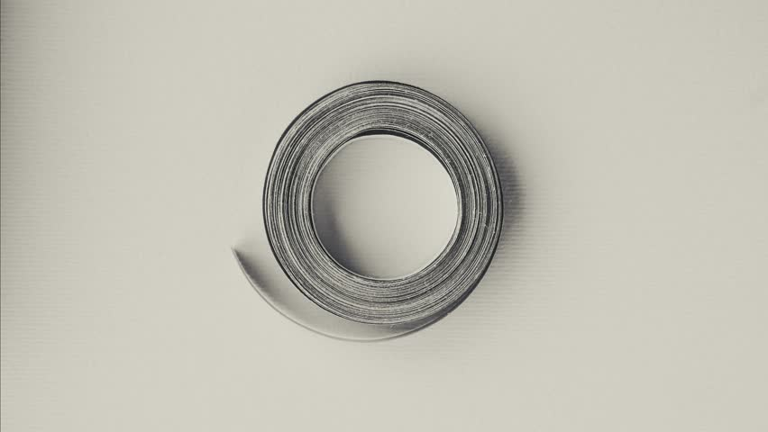 rotating coil of paper. single object - looping background.