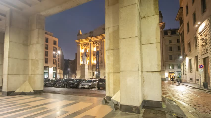 Milan, November 2018: Hyperlapse of Italian Stock Exchange (Borsa Italiana) also known as Piazza Affari ( Business Square ) , on November 2018 in Milan, Italy