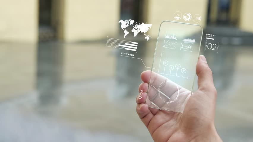 Communication and technology. Business background. Future technology. Market Analyze. Diagrams, financial figures. White screen backlight | Shutterstock HD Video #1019581564