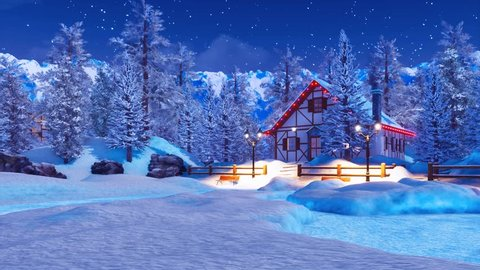 Dreamlike winter scenery with cozy snowbound half-timbered house illuminated by christmas lights among snow covered fir trees high in alpine mountains at starry night. 3D animation rendered in 4K