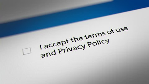 "Mouse Cursor Clicking ""I accept the terms of use  and Privacy Policy"" Checkbox,  Terms and Conditions Agreement."
