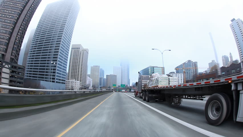 Seattle, Washington - November 2011: View from car driving in traffic on I-5 in Seattle. | Shutterstock HD Video #10196414