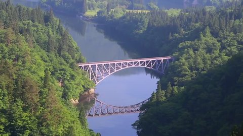 "Famous railroad ""Tadami Line"" of Fukushima.This railroad runs in Mishima-machi."