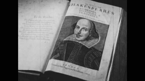 1950s: Portrait of William Shakespeare in book. Hand turns page.