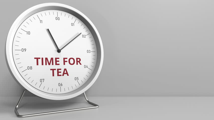 Clock with revealing TIME FOR TEA caption. Conceptual animation | Shutterstock HD Video #1019798824