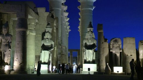 Statues of Ramses II in his court at Great Temple of Luxor