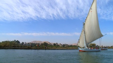 Luxor/ Egypt-10102018:Traditional felucca boats sailing on Nile river near Luxor / Egypt
