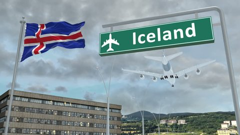 Iceland, approach of the aircraft to land in cloudy weather, flying over the name of the country and its flag