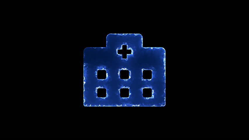 Symbol hospital. Blue Electric Glow Storm. looped video. Alpha channel black | Shutterstock HD Video #1019899354