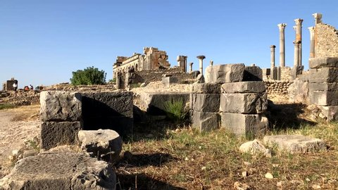 Roman ancient ruins at the archaelogical UNESCO Heritage site of Volubilis in Morocco, Africa