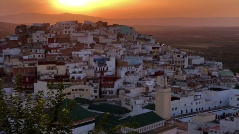 Beautiful sunset at the ancient village of Moulay Idriss near to Volubilis in Meknes in Morocco, Africa