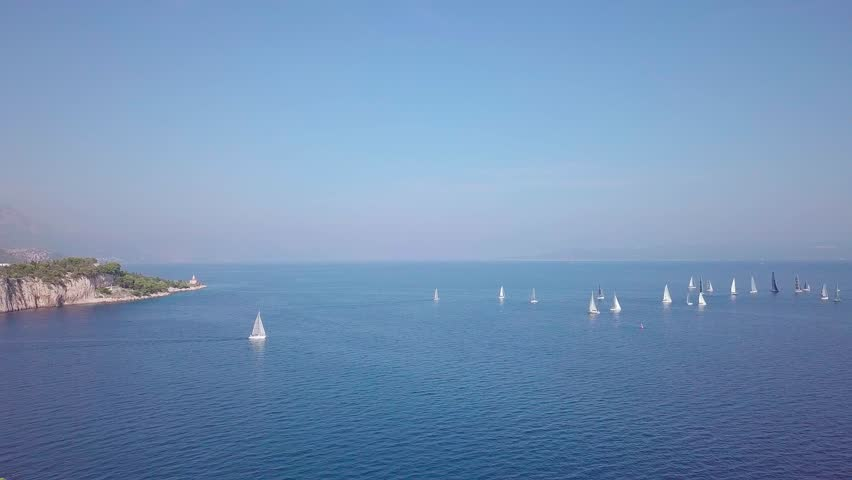 View of the white sailboats in the sea drone shooting | Shutterstock HD Video #1019953294