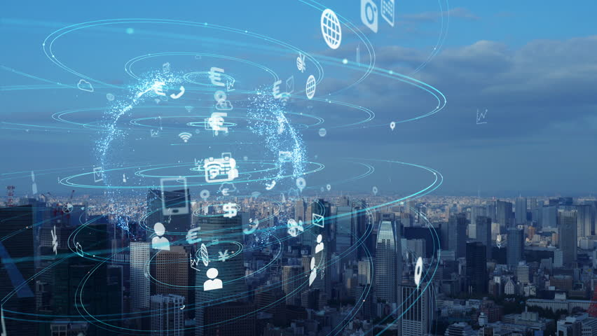 Smart city and communication network concept. | Shutterstock HD Video #1020020704