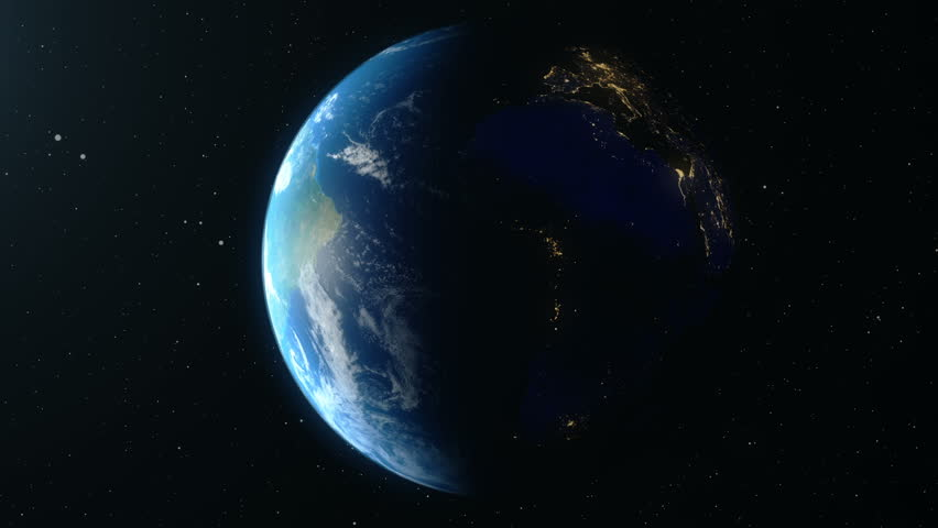 Earth Rotates Around Its Axis. World Globe Surrounded By Infinite space. World Globe from Space. Looped animation, Change of night and day. Elements of this image furnished by NASA | Shutterstock HD Video #1020055924