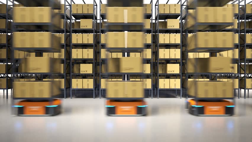 Animation with warehouse industry autonomic robots carrying a shelves with cardboard boxes. Fully automatic unmanned system of cargo distribution. Computer coordinated efficient logistic process. 4K.  | Shutterstock HD Video #1020096214