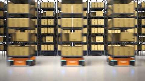 Animation with warehouse industry autonomic robots carrying a shelves with cardboard boxes. Fully automatic unmanned system of cargo distribution. Computer coordinated efficient logistic process. 4K.