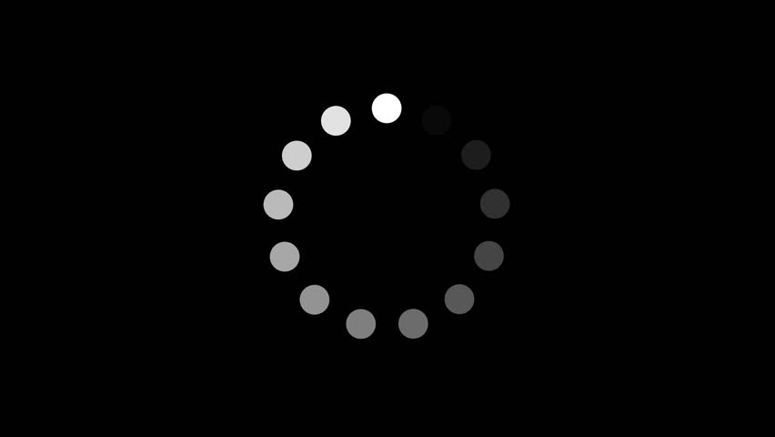 Simple Black And White Preloader With Dots Circle/ 4k animation of a design minimal preloader with white circles fading in and out #1020097294