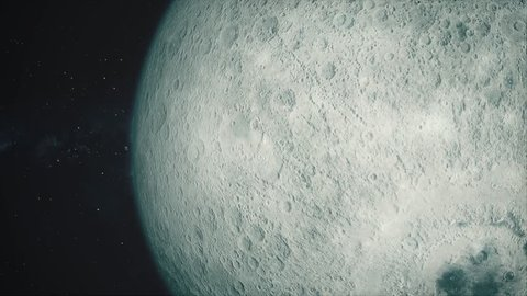 Fullscreen Moon Passes By. Beautiful, cinematic animation of the moon, which passes by in fullscreen.