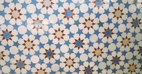 Slow rotation over beautifully crafted arranged patter of tiles inside the Strasbourg Great Mosque or Grande Mosquee de Strasbourg