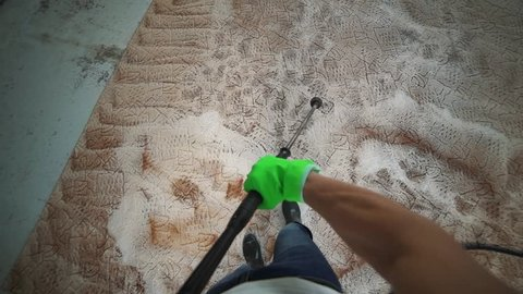 Carpet cleaning with high pressure washing.