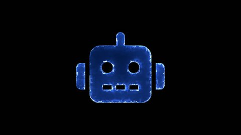 Symbol robot. Blue Electric Glow Storm. looped video. Alpha channel black