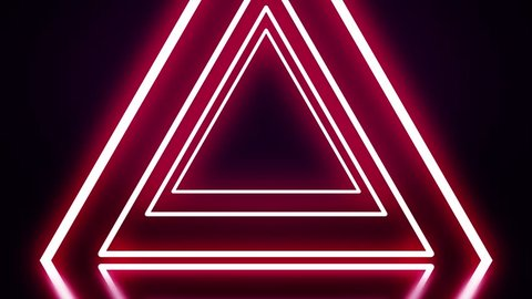 A tunnel of red neon triangles on black background. Abstract neon triangles fly away one by one forming tunnel