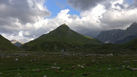 Time lapse of clouds over mountains during the Kashmir great lakes trek in Sonamarg, Jammu & Kashmir, India