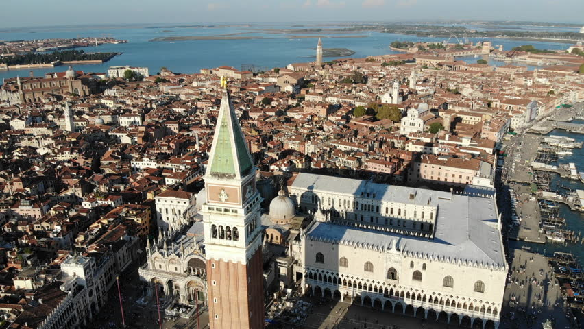 Venice san marco bell tower flyby | Shutterstock HD Video #1020371644