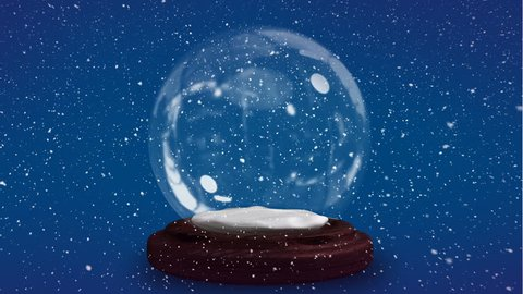 Digital animation video of blue glitter sparkles wave moving around snow globe. Snow falling against blue background 4k